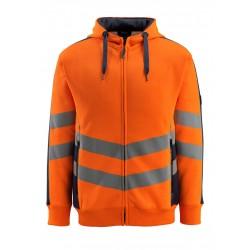 Mascot Coby Safe Supreme 50138 Hi Vis Hoodie with Zipper Orange Dark Navy