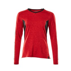 Mascot Accelerate 18091 Ladies Fit T-shirt long Sleeved Traffic Red Flecked Black