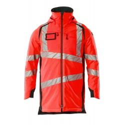 Mascot Accelerate Safe 19030 Parka Jacket Hi Vis Red Dark Navy
