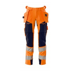 Mascot Accelerate Safe 19031 Trousers With Holster Pockets Hi Vis Orange Dark Navy