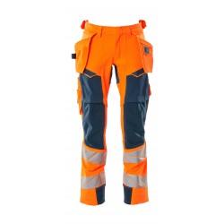 Mascot Accelerate Safe 19031 Trousers With Holster Pockets Hi Vis Orange Dark Petroleum