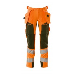 Mascot Accelerate Safe 19031 Trousers With Holster Pockets Hi Vis Orange Moss Green