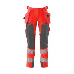 Mascot Accelerate Safe 19031 Trousers With Holster Pockets Hi Vis Red Dark Anthracite