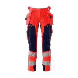 Mascot Accelerate Safe 19031 Trousers With Holster Pockets Hi Vis Red Dark Navy