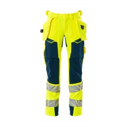 Mascot Accelerate Safe 19031 Trousers With Holster Pockets Hi Vis Yellow Dark Petroleum