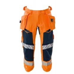 Mascot Accelerate Safe 19049 3/4 Length Pants With Holster Pockets Hi Vis Orange Dark Navy