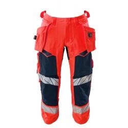 Mascot Accelerate Safe 19049 3/4 Length Pants With Holster Pockets Hi Vis Red Dark Navy