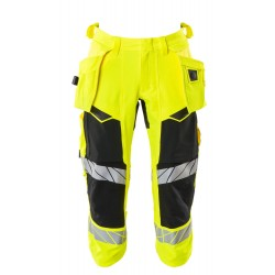 Mascot Accelerate Safe 19049 3/4 Length Pants With Holster Pockets Hi Vis Yellow Black