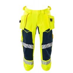 Mascot Accelerate Safe 19049 3/4 Length Pants With Holster Pockets Hi Vis Yellow Dark Navy
