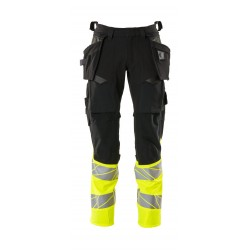 Mascot Accelerate Safe 19131 Trousers With Holster Pockets Hi Vis Black Yellow