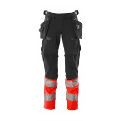 Mascot Accelerate Safe 19131 Trousers With Holster Pockets Hi Vis Dark Anthracite Red