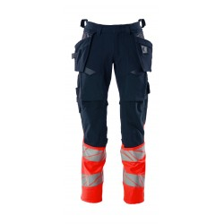 Mascot Accelerate Safe 19131 Trousers With Holster Pockets Hi Vis Dark Navy Red