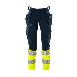 Mascot Accelerate Safe 19131 Trousers With Holster Pockets Hi Vis Dark Navy Yellow