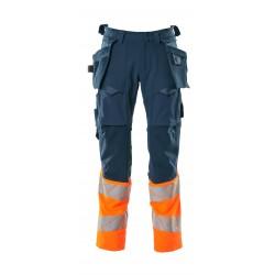 Mascot Accelerate Safe 19131 Trousers With Holster Pockets Hi Vis Dark Petroleum Orange