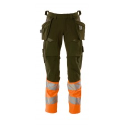 Mascot Accelerate Safe 19131 Trousers With Holster Pockets Hi Vis Moss Green Orange