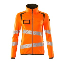 Mascot Accelerate Safe 19153 Fleece Jumper With Zipper Ladies Fit Hi Vis Orange Moss Green