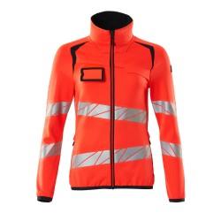 Mascot Accelerate Safe 19153 Fleece Jumper With Zipper Ladies Fit Hi Vis Red Dark Navy