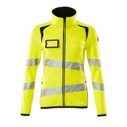 Mascot Accelerate Safe 19153 Fleece Jumper With Zipper Ladies Fit Hi Vis Yellow Dark Navy