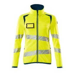 Mascot Accelerate Safe 19153 Fleece Jumper With Zipper Ladies Fit Hi Vis Yellow Dark Petroleum
