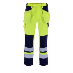 Mascot Almas Safe Compete 09131 Trousers With Holster Pockets Hi Vis Yellow Navy
