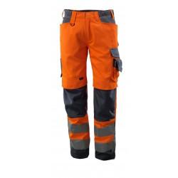Mascot Kendal Safe Supreme 15579 Trousers With Kneepad Pockets Orange Dark Navy