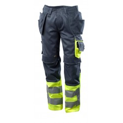 Mascot Safe Supreme 17531 Trousers With Holster Pockets Dark Navy Yellow