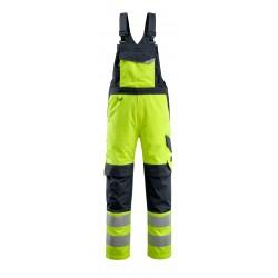 Mascot Multisafe Davos Bib & Brace With Kneepad Pockets - Hi-vis Yellow / Dark Navy
