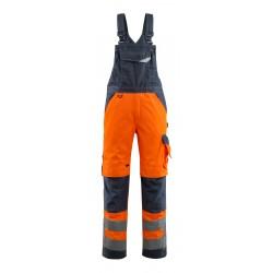 Mascot Safe Supreme Newcastle Bib & Brace With Kneepad Pockets - Hi-vis Orange/dark Navy