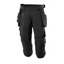 Mascot Advanced 17049 3/4 Length Pants With Kneepad Pockets And Holster Pockets - Black